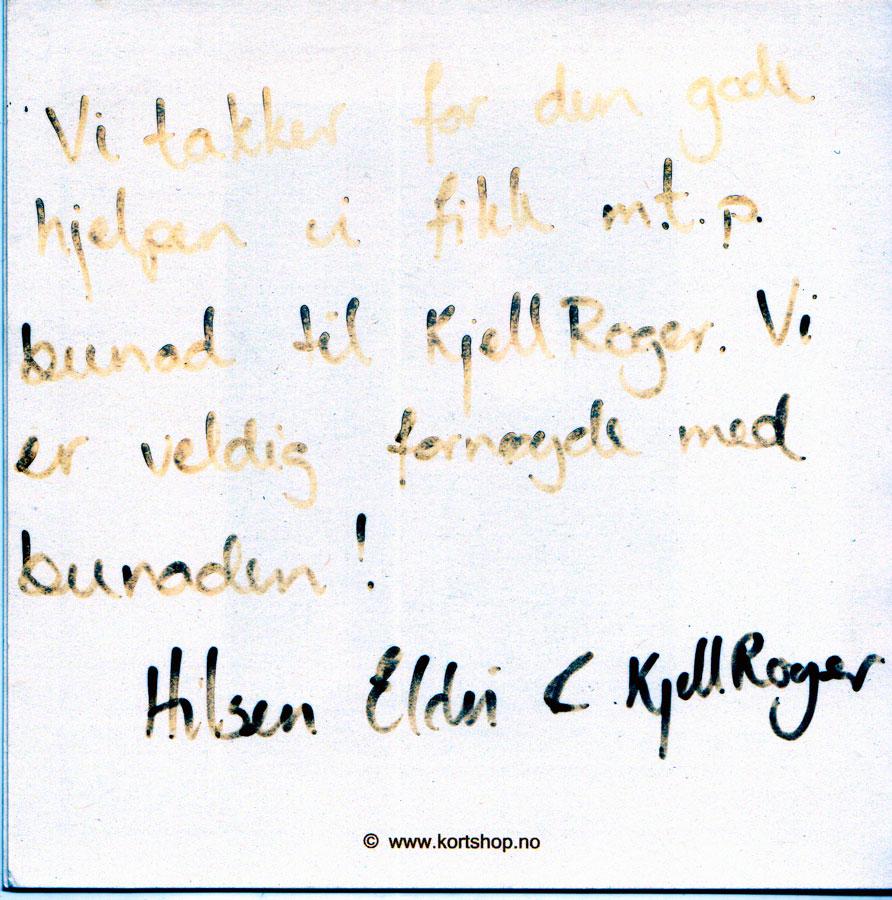 Vi takker for den gode hjelpen vi fikk med tanke på bunad til Kjell Roger. Vi er veldig fornøyde med bunaden! Hilsen Eldri og Kjel Roger.