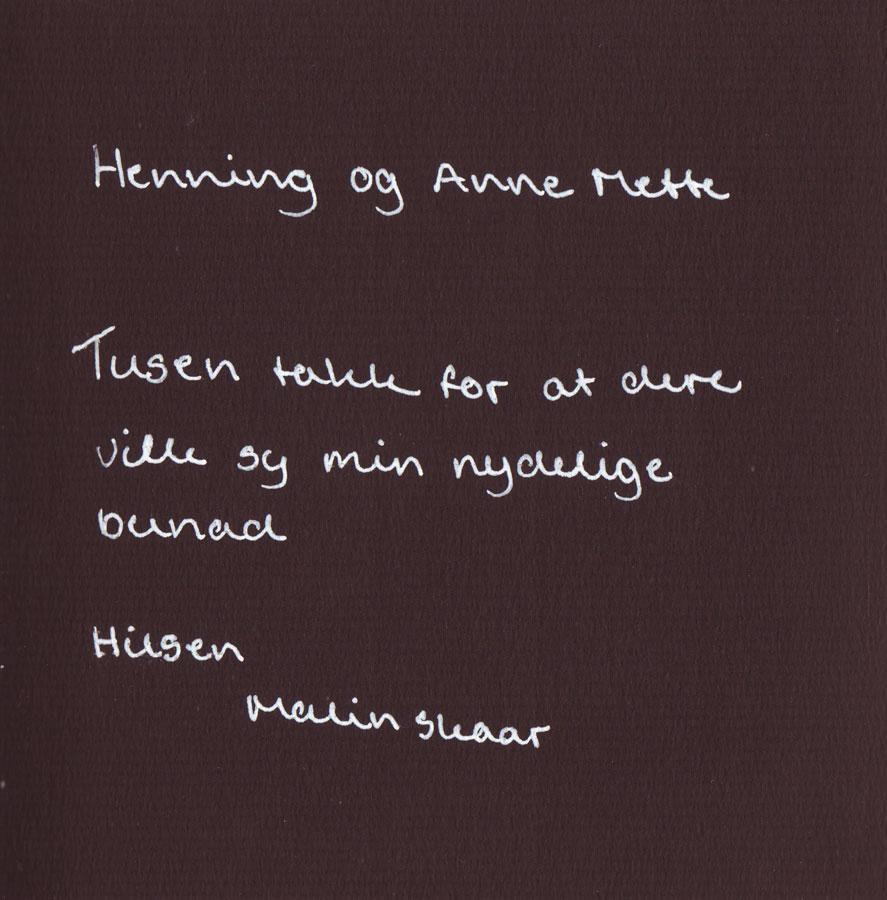 Henning og Anne Mette Tusen takk for at dere ville sy min nydelige bunad. Hilsen Malin Skaar