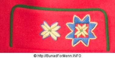 Brodderinger på lommen til en mannsbunad fra Fana