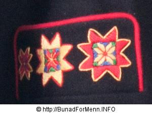 Broderinger på lommen til en mannsbunad fra Fana