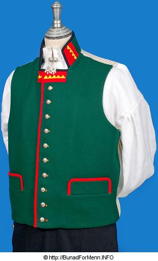 Den grønne vesten er utstyrt med rød bise i front og rød bise på lommeklaffene som vender oppover. Vesten har ti sølvknapper med klassisk femblads rose mønster. Dette dekoren på knappene ble fra gammelt av omtalt som Bergenssølv.