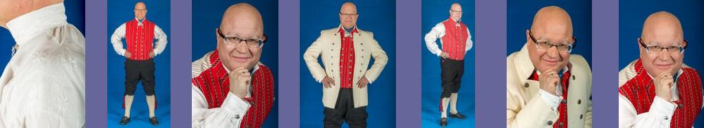 Mannsbunad fra Trøndelag med kvit jakke