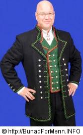 Hardanger bunad til mann med grønn vest