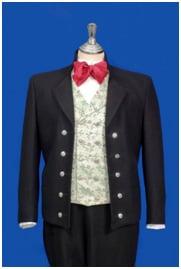 Nordlandsbunad med jakke, vest og kort bukse.