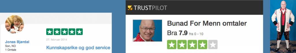Les omtaler og se hva kunder synes om Bunad For Menn på TrustPilot.no og Google Reviews