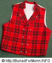 Rød vest til mannsbunad fra Gudbrandsdalen med kort jakke
